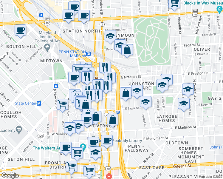 map of restaurants, bars, coffee shops, grocery stores, and more near 213 East Biddle Street in Baltimore