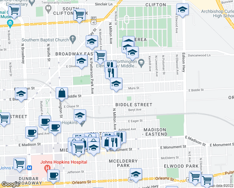 map of restaurants, bars, coffee shops, grocery stores, and more near 1139 North Milton Avenue in Baltimore