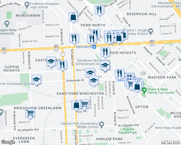 map of restaurants, bars, coffee shops, grocery stores, and more near 1543 North Gilmor Street in Baltimore