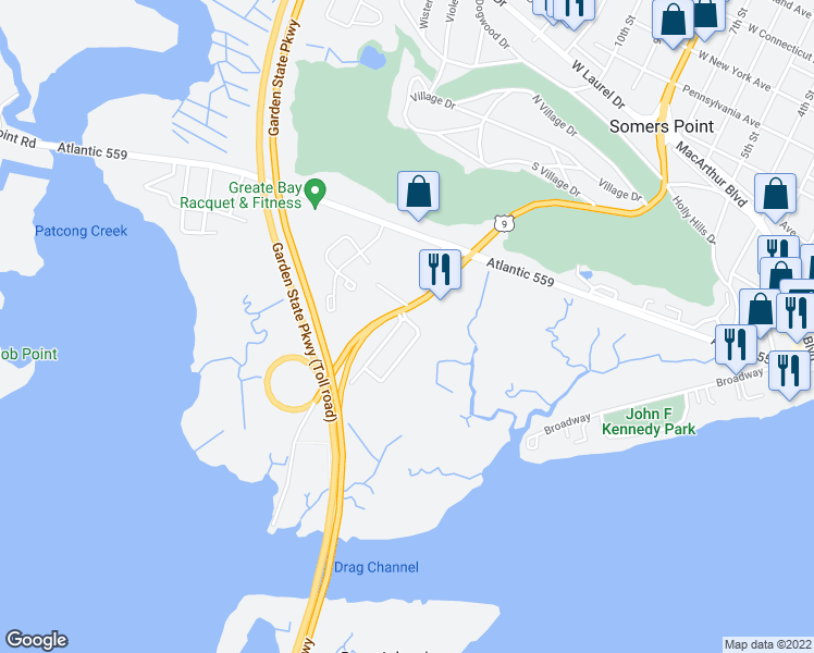 map of restaurants, bars, coffee shops, grocery stores, and more near 1305 Roberts Avenue in Somers Point