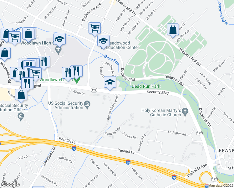 map of restaurants, bars, coffee shops, grocery stores, and more near 6210 Security Boulevard in Woodlawn