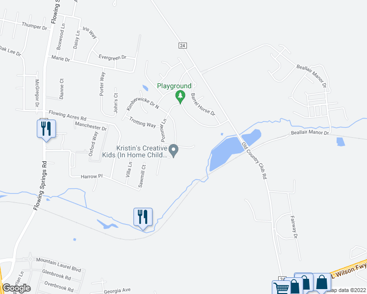 map of restaurants, bars, coffee shops, grocery stores, and more near 121 Appaloosa Way in Charles Town