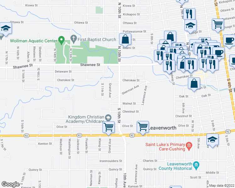 map of restaurants, bars, coffee shops, grocery stores, and more near 1000 Sherman Avenue in Leavenworth