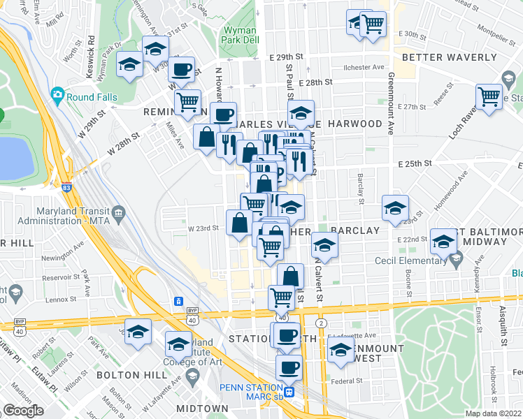map of restaurants, bars, coffee shops, grocery stores, and more near 2404 North Charles Street in Baltimore