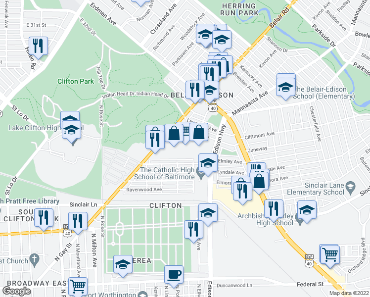 map of restaurants, bars, coffee shops, grocery stores, and more near 2401 Belair Road in Baltimore