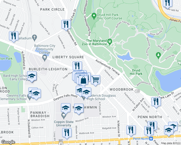 map of restaurants, bars, coffee shops, grocery stores, and more near 2700 Reisterstown Road in Baltimore