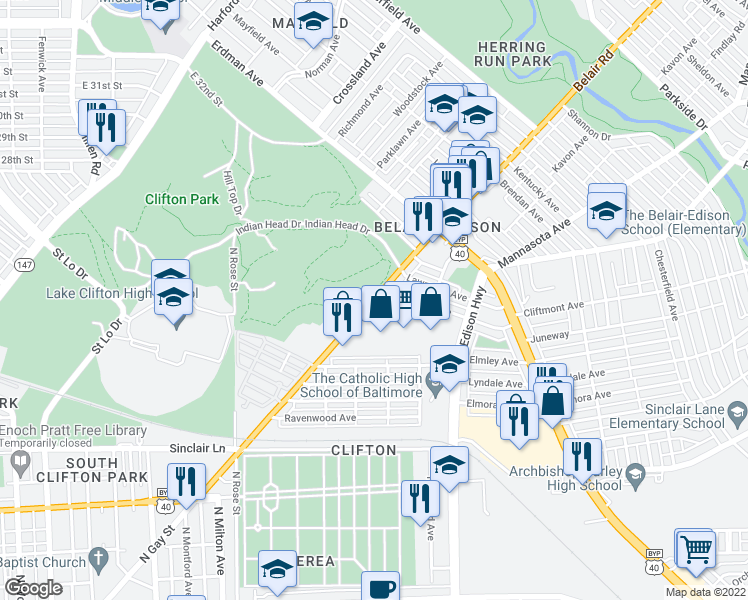 map of restaurants, bars, coffee shops, grocery stores, and more near Belair Road in Baltimore
