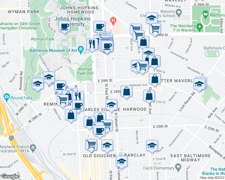 map of restaurants, bars, coffee shops, grocery stores, and more near 2804 North Calvert Street in Baltimore