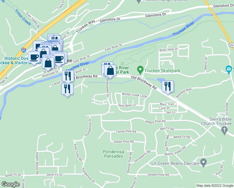 map of restaurants, bars, coffee shops, grocery stores, and more near in Truckee