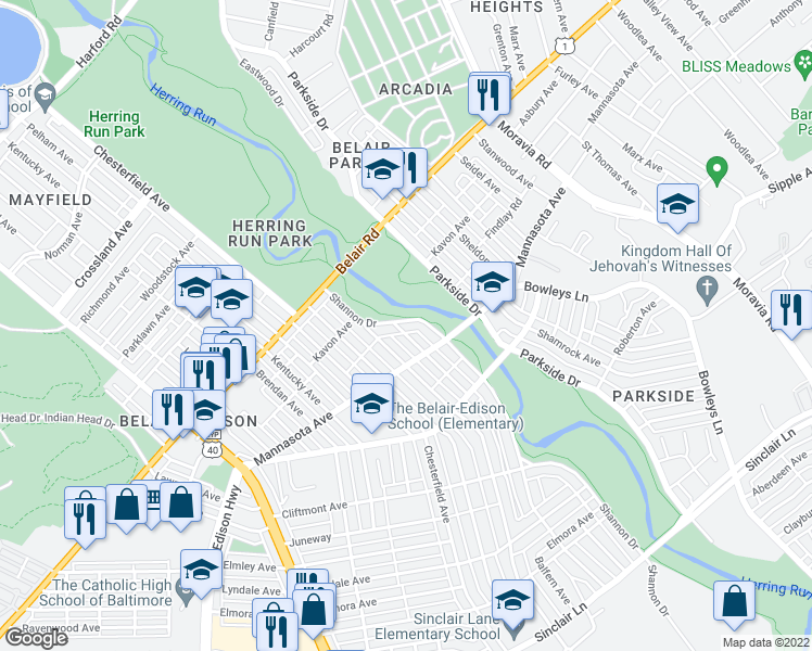 map of restaurants, bars, coffee shops, grocery stores, and more near 3205 Shannon Drive in Baltimore