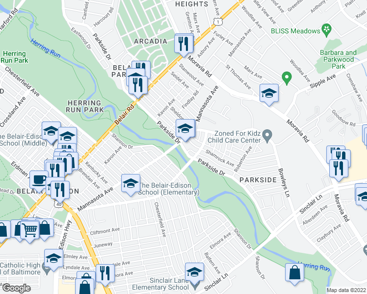 map of restaurants, bars, coffee shops, grocery stores, and more near Parkside Drive in Baltimore