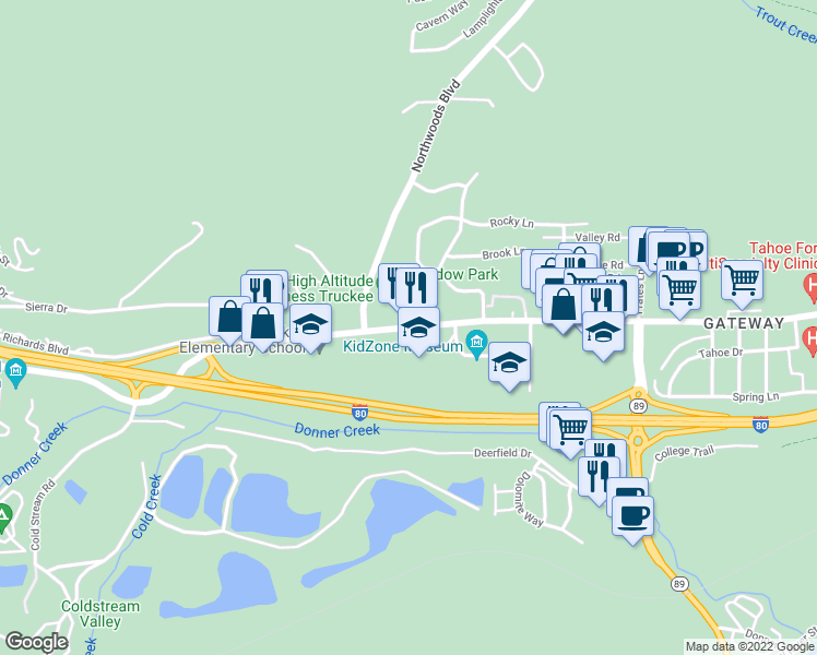 map of restaurants, bars, coffee shops, grocery stores, and more near 11711 Donner Pass Road in Truckee