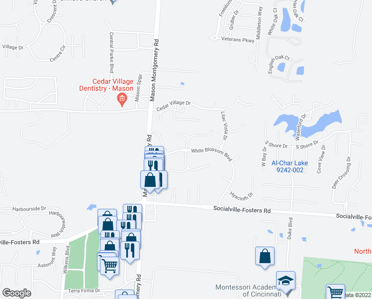 map of restaurants, bars, coffee shops, grocery stores, and more near Yellowwood Drive in Mason
