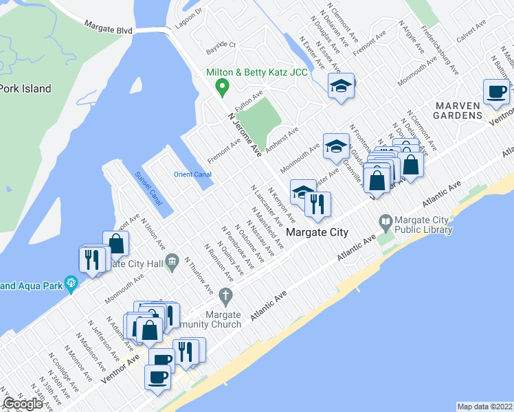 map of restaurants, bars, coffee shops, grocery stores, and more near 117 North Mansfield Avenue in Margate City