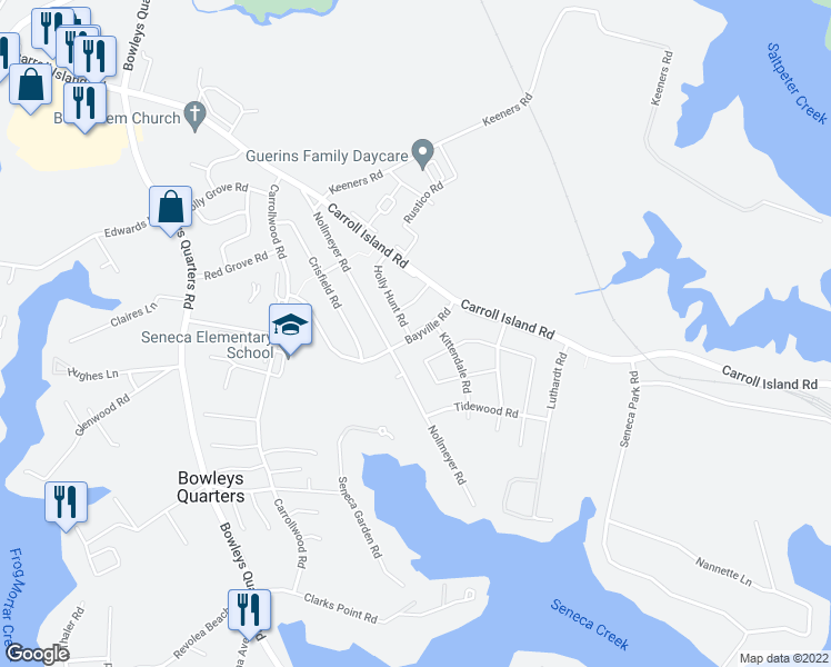 map of restaurants, bars, coffee shops, grocery stores, and more near 3902 Bayville Road in Middle River