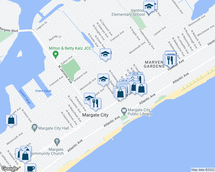 map of restaurants, bars, coffee shops, grocery stores, and more near North Granville Avenue in Margate City