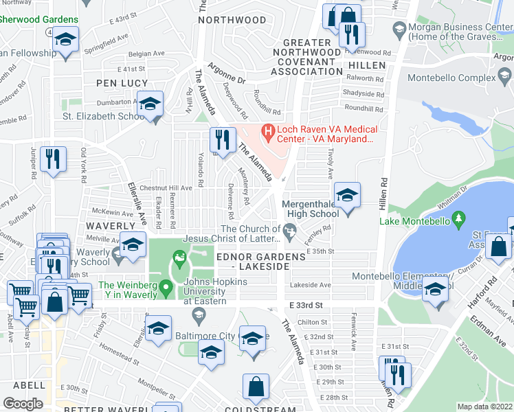 map of restaurants, bars, coffee shops, grocery stores, and more near 3603 Monterey Road in Baltimore