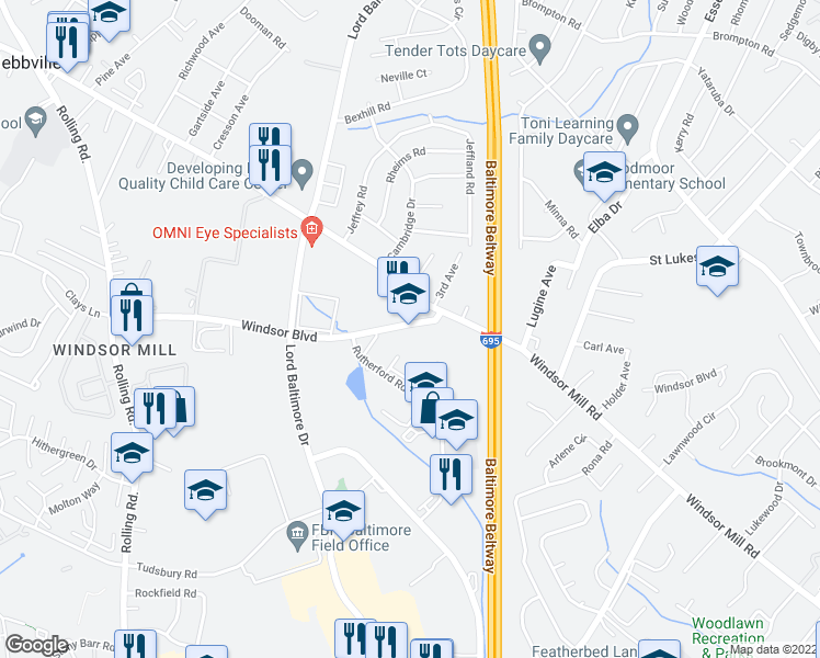 map of restaurants, bars, coffee shops, grocery stores, and more near 7111 Windsor Blvd in Milford Mill