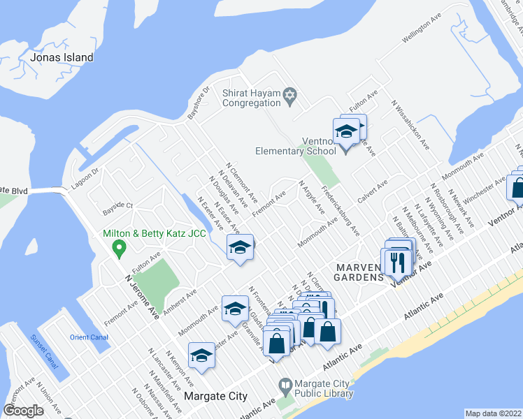 map of restaurants, bars, coffee shops, grocery stores, and more near North Clermont Avenue in Margate City