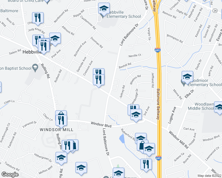 map of restaurants, bars, coffee shops, grocery stores, and more near 7100 Rutherford Green Circle in Milford Mill