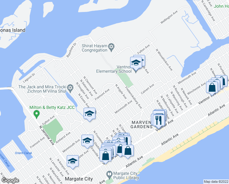 map of restaurants, bars, coffee shops, grocery stores, and more near North Belmont Drive in Margate City