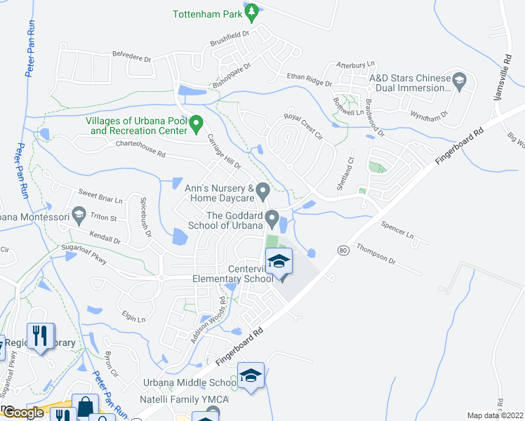 map of restaurants, bars, coffee shops, grocery stores, and more near 3818 Carriage Hill Drive in Frederick