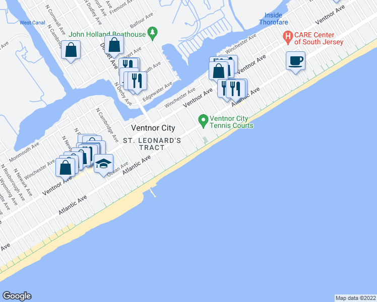 map of restaurants, bars, coffee shops, grocery stores, and more near 111 South Dudley Avenue in Ventnor City