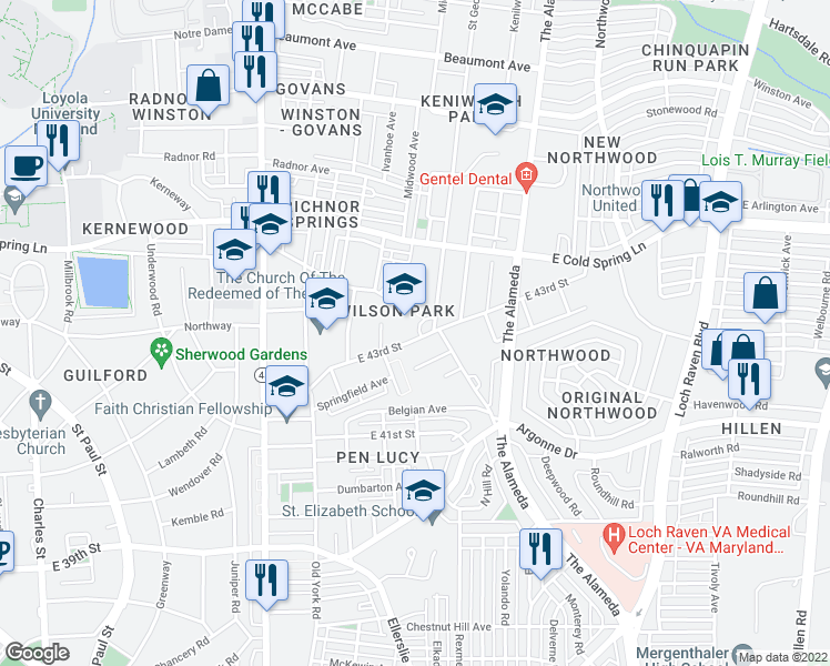 map of restaurants, bars, coffee shops, grocery stores, and more near 4406 St Georges Ave in Baltimore