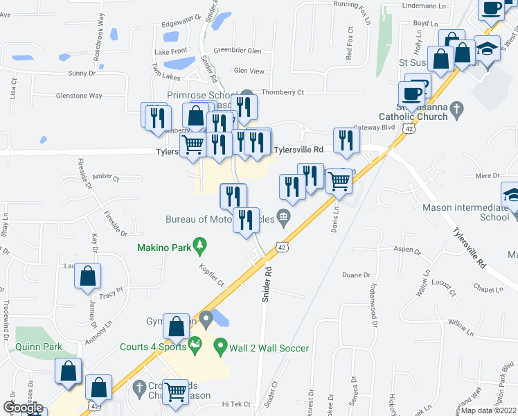 map of restaurants, bars, coffee shops, grocery stores, and more near 6200 Snider Road in Mason