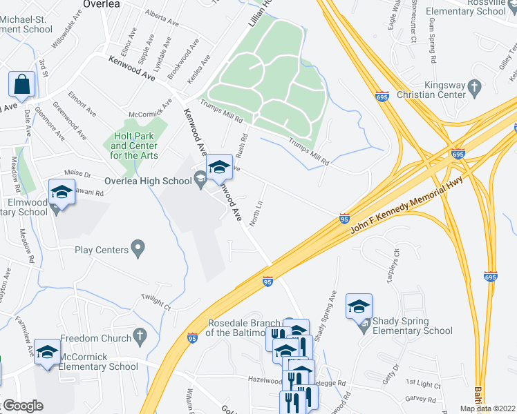 map of restaurants, bars, coffee shops, grocery stores, and more near North Ln in Baltimore