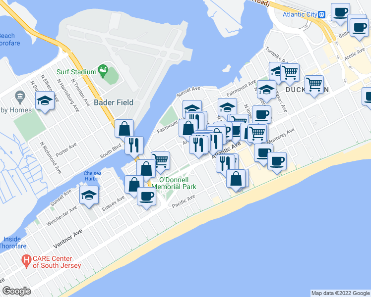 map of restaurants, bars, coffee shops, grocery stores, and more near 36 North Boston Avenue in Atlantic City