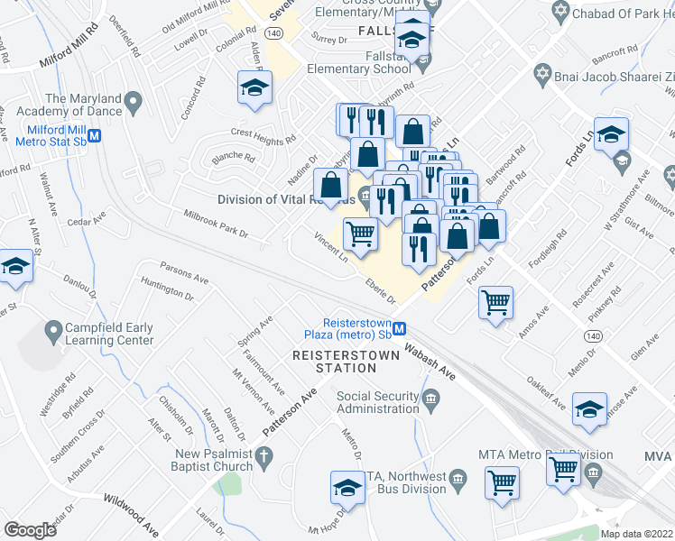 map of restaurants, bars, coffee shops, grocery stores, and more near 6609 Eberle Drive in Baltimore
