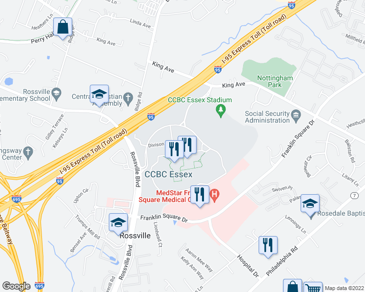 map of restaurants, bars, coffee shops, grocery stores, and more near Essex Community College in Rosedale