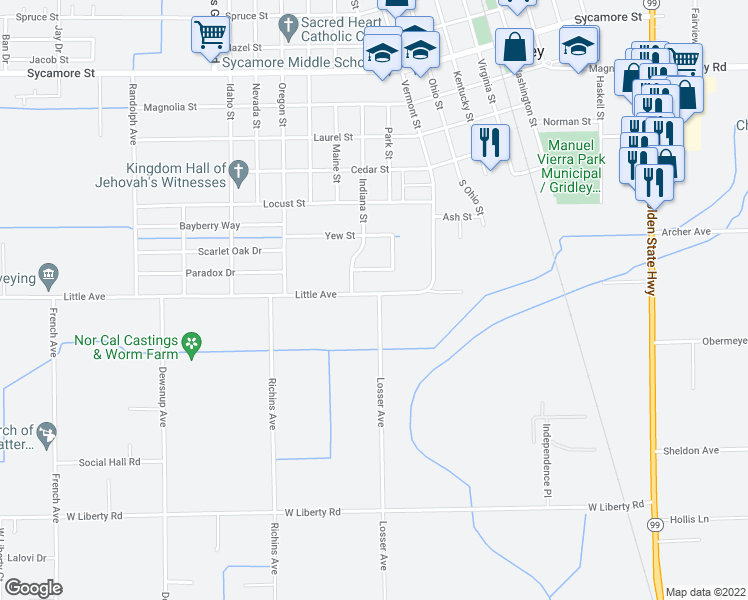 map of restaurants, bars, coffee shops, grocery stores, and more near 1379 Losser Avenue in Gridley