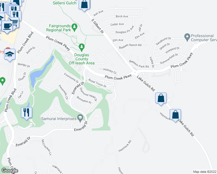 map of restaurants, bars, coffee shops, grocery stores, and more near 1652 Cherry Hills Lane in Castle Rock