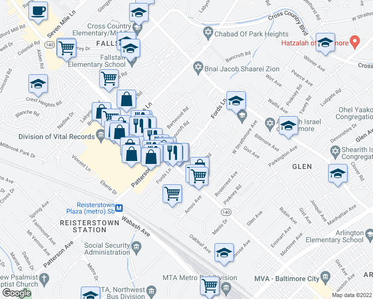 map of restaurants, bars, coffee shops, grocery stores, and more near Fords Lane in Baltimore