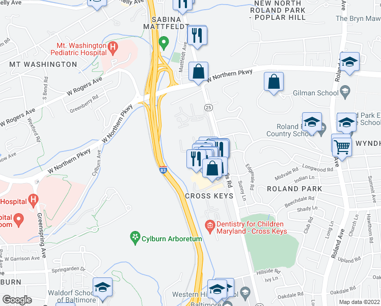 map of restaurants, bars, coffee shops, grocery stores, and more near 111 Hamlet Hill Road in Baltimore