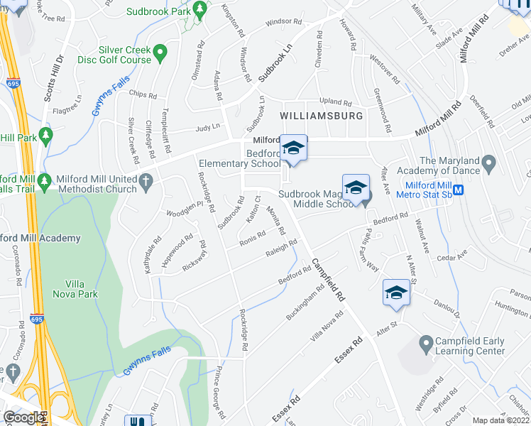 map of restaurants, bars, coffee shops, grocery stores, and more near 7419 Monita Road in Pikesville