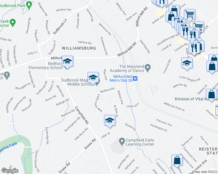 map of restaurants, bars, coffee shops, grocery stores, and more near 4315 Bedford Road in Pikesville