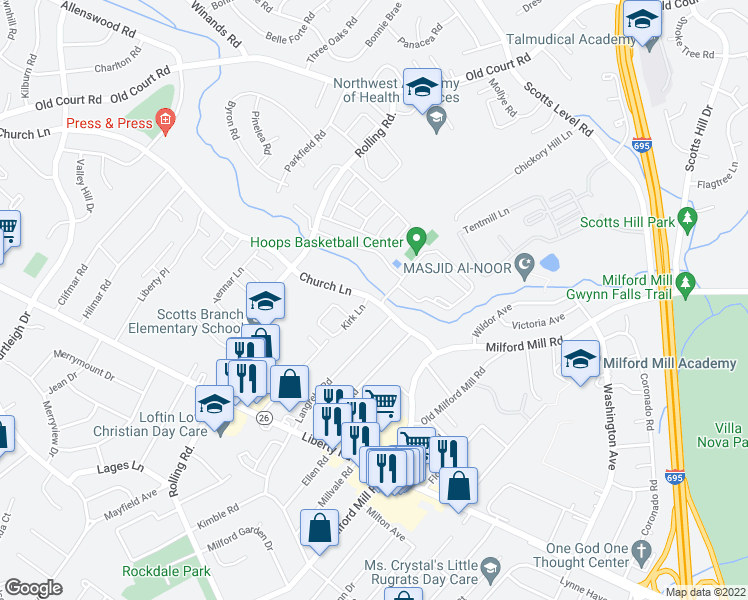 map of restaurants, bars, coffee shops, grocery stores, and more near 8240 Church Lane in Milford Mill