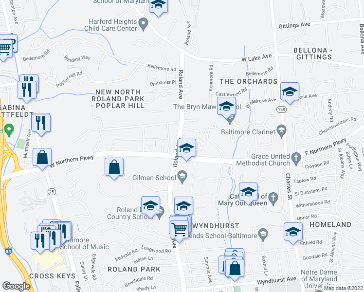 map of restaurants, bars, coffee shops, grocery stores, and more near 702 Benston Place in Baltimore