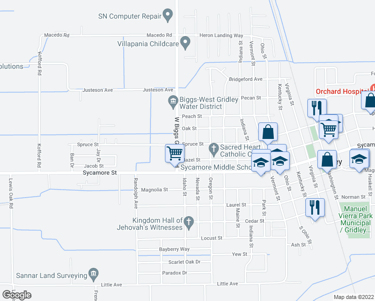 map of restaurants, bars, coffee shops, grocery stores, and more near 664 Idaho Street in Gridley