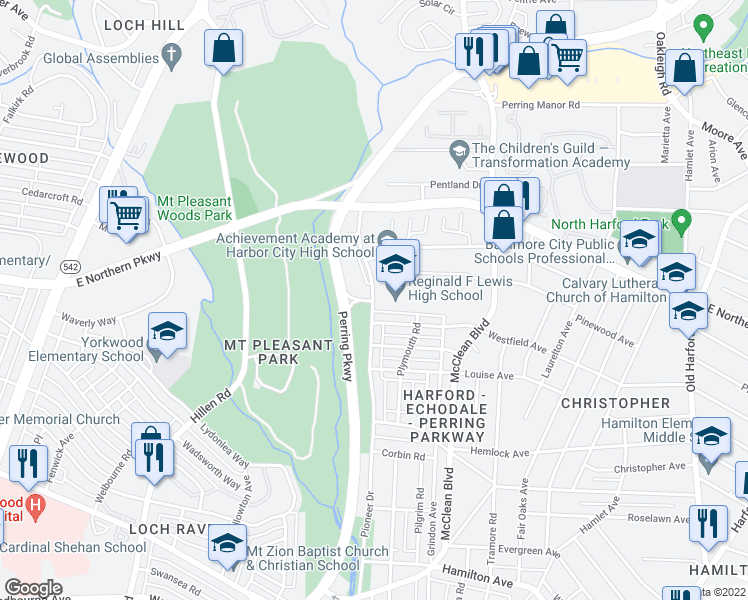 map of restaurants, bars, coffee shops, grocery stores, and more near 6500 Pioneer Drive in Baltimore