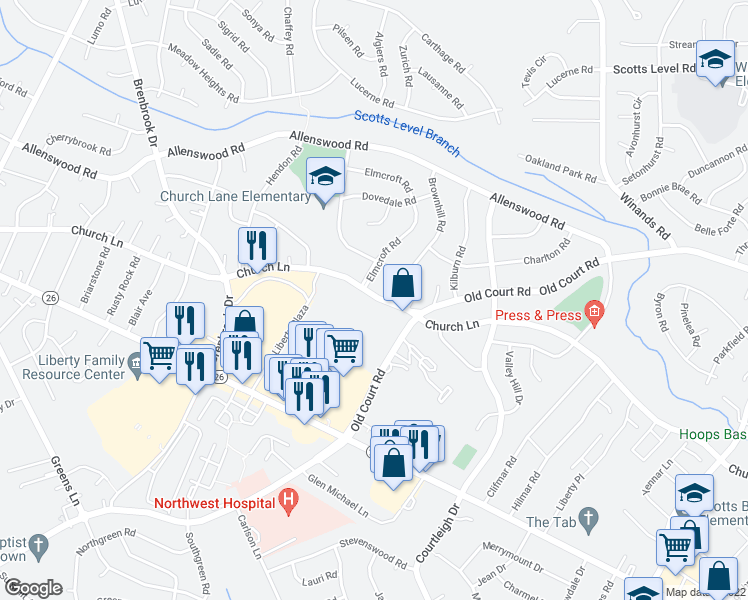 map of restaurants, bars, coffee shops, grocery stores, and more near 8613-8615 Church Lane in Randallstown