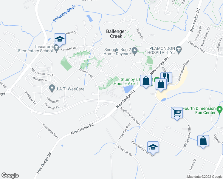 map of restaurants, bars, coffee shops, grocery stores, and more near Meridian Way in Frederick