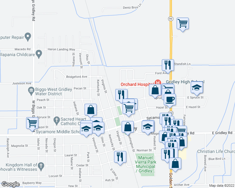 map of restaurants, bars, coffee shops, grocery stores, and more near 1001 Washington St in Gridley