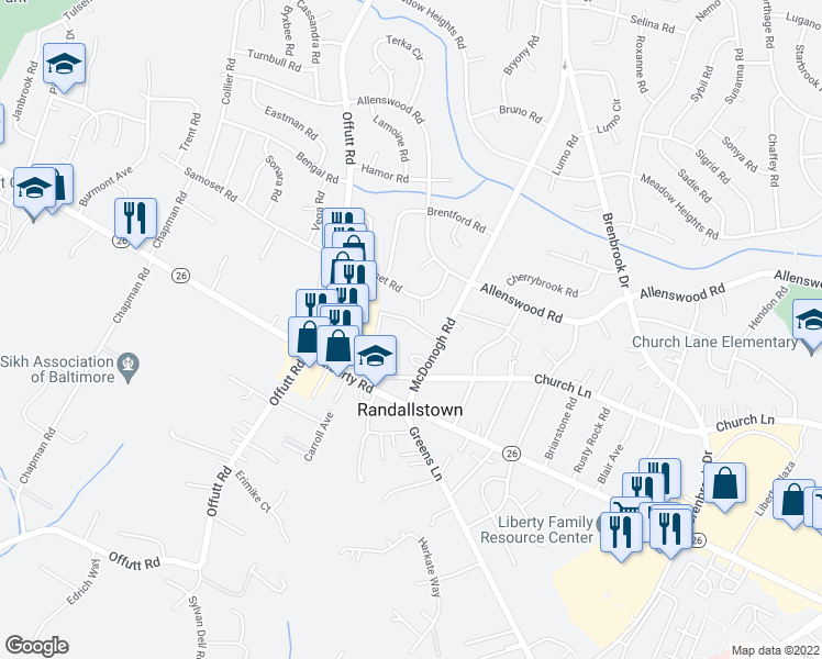 map of restaurants, bars, coffee shops, grocery stores, and more near 3706 McDonogh Road in Randallstown