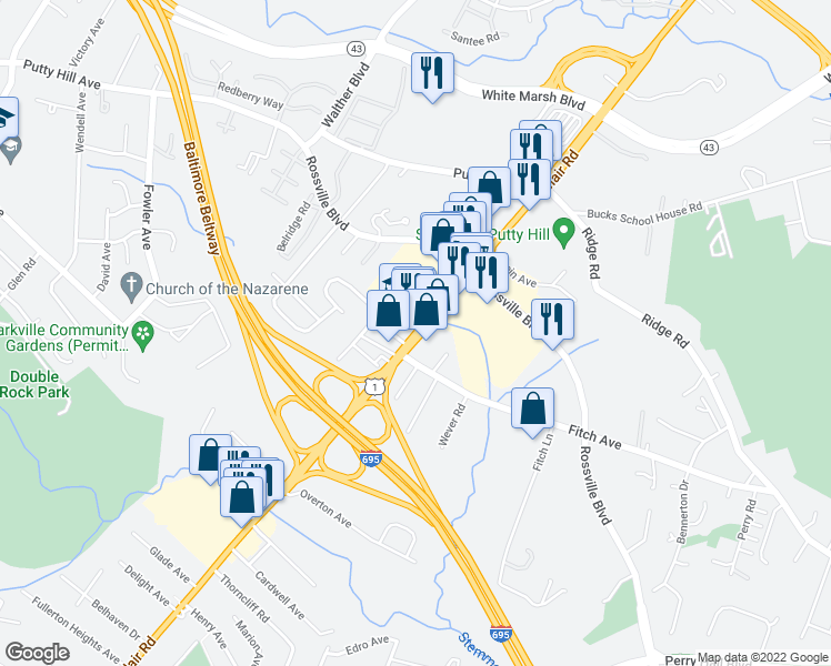 map of restaurants, bars, coffee shops, grocery stores, and more near 7907 Belair Road in Nottingham