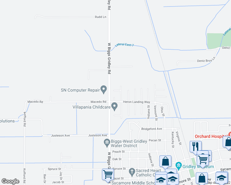 map of restaurants, bars, coffee shops, grocery stores, and more near 1725 White Mallard Court in Gridley