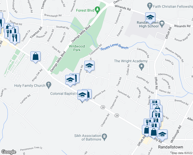 map of restaurants, bars, coffee shops, grocery stores, and more near Joleon Rd & Painted Tree Dr in Randallstown